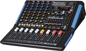 Audio2000'S AMX7332-Professional Six-Channel Audio Mixer with USB Interface, Bluetooth, and DSP Sound Effects. (AMX7332)