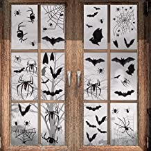 Halloween Decoration - 113 PCS Halloween Black Spider Bat Window Cling, Spooky Halloween Stickers Decals for Halloween Party Decoration (4 sheet)