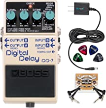 BOSS DD-7 Digital Delay Stereo Pedal Bundle with Blucoil Power Supply Slim AC/DC Adapter for 9 Volt DC 670mA, 2 Pack of Pedal Patch Cables and 4 Celluloid Guitar Picks