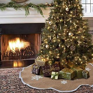Aytai Christmas Tree Skirt 48 Inch Rustic Tree Skirts White Snowflake Printed Christmas Decorations Indoor Outdoor