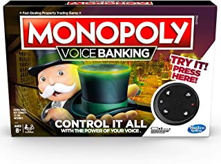 Hasbro E4816 MONOPOLY- Voice Banking- Control It All With Your Voice- 2 to 4 Players- Family Board Games- Ages 8+, Black/ ...