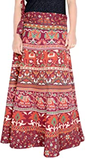 Rajvila Women's Cotton Printed 38 Inch Length Regular Wrap Around Long Skirt(F_W38NT_0006)
