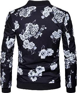 BuZaiYouYu Men's Casual Stand Collar Floral Bomber Flight Jacket Slim Fit Bike Motorcycle Coat Outwear Fashion