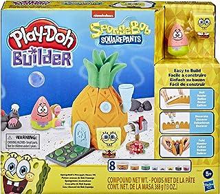 Play-Doh E9047 Builder SpongeBob sponskop ananashuis, bouwset voor kinderen vanaf 5 jaar, met 8 blikjes