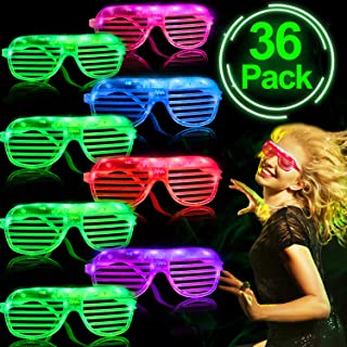 36 Pack LED Light Up Glasses Glow in The Dark Party Favors Shutter Shades Glasses Shades Prizes Box Toys for Classroom Flashing Show Toys for Glowing Events Rave Neon Party Supplies for Kids Adults