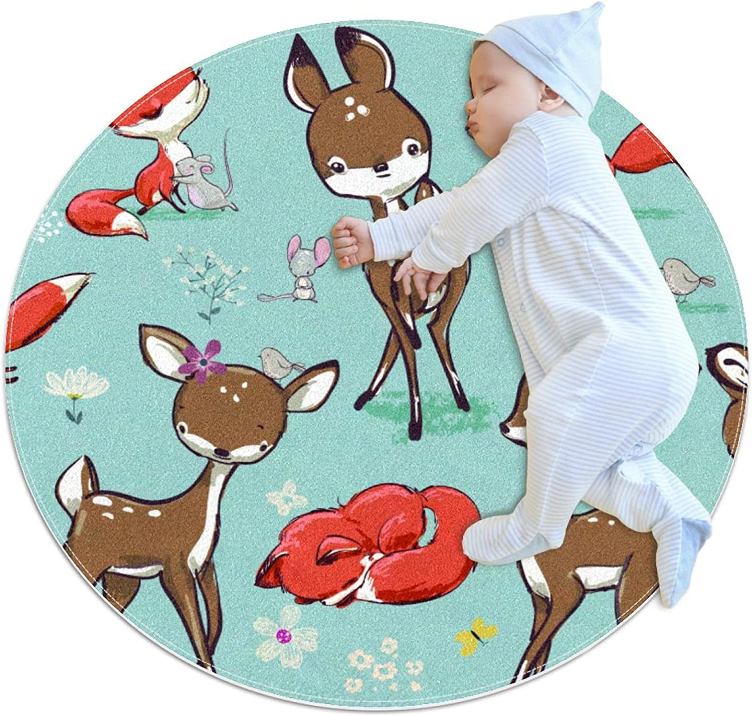 Set with Cute Fox Mouse and Spring new work one after another Deer Polyester Kids Soft Mat Play C 5 ☆ very popular