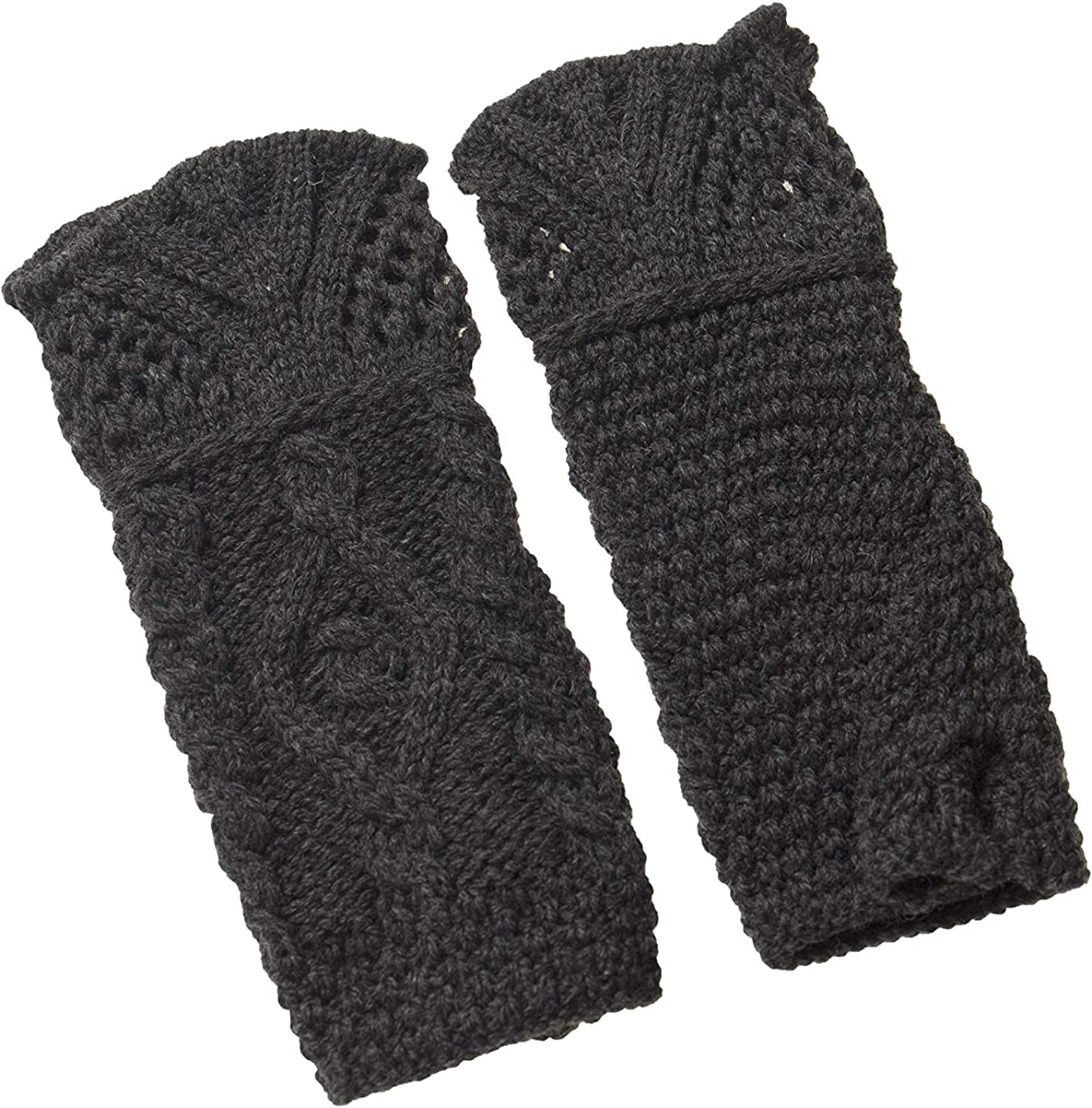 Aran Crafts Fingerless Merino Mittens One Size Charcoal (X4342CHAR)