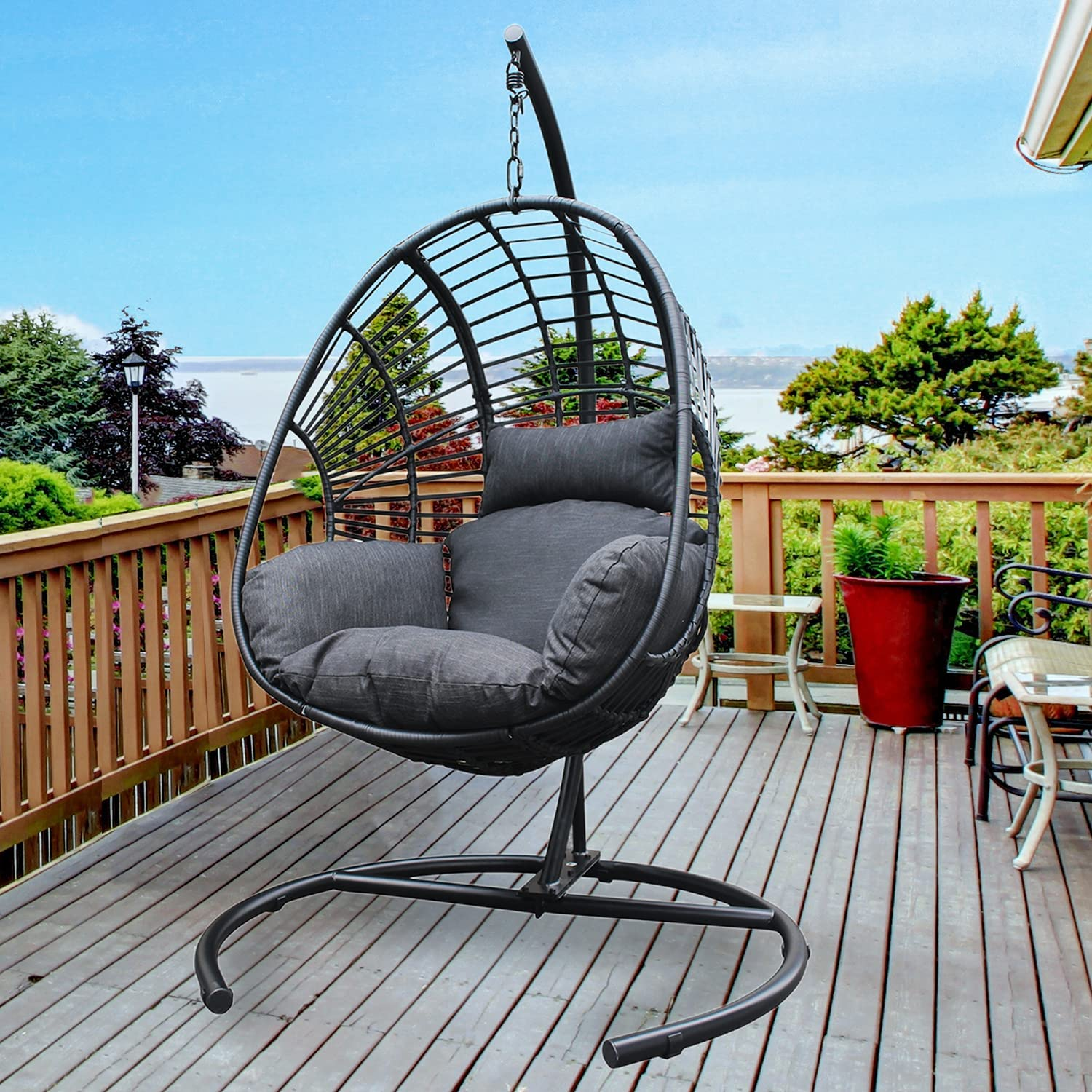 JOYBASE Hanging Egg Chair Ranking TOP2 with Outdoor Rattan Stand Wicker Daily bargain sale