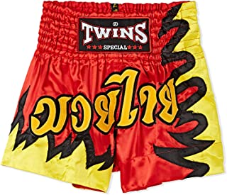 Twins Special Mixed Borders Muaythai Shorts For Men - Red, Size Large