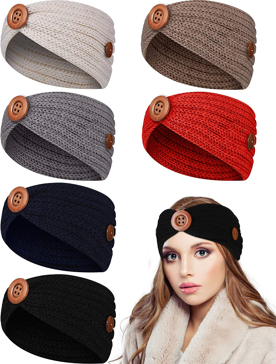 6 Pieces Knit Headbands with Buttons Winter Warm Turban Hair Bands Elastic Ear Warmer Headbands Stretchy Head Wraps for Women Girls