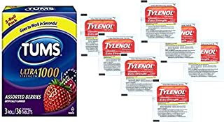 Tums Individually Wrapped Rolls and Tylenol Travel Medicine Packets - Relief for Menstrual Cramps, Heartburn, Indigestion, Headaches and Pain | Bundle Set