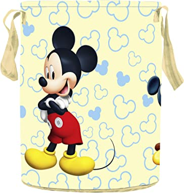 Kuber Industries Disney Team Mickey Round Non Woven Fabric Foldable Laundry Basket, Toy Storage Basket, Cloth Storage Basket
