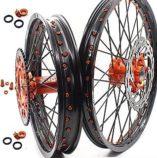 KKE KTM MX 21'' 19'' WHEELS RIMS SET COMPLETE FRONT REAR FIT KTM EXC SX XCF XCW 125-530CC 03-18 DISC SPROCKET