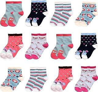 12 Pares de Calcetines para niños Medias para niños Calcetín de algodón para niñas Colorido 2111VA