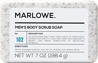 MARLOWE. No. 102 Men's Body Scrub Soap 7 oz | Best Exfoliating Bar for Men | Made..