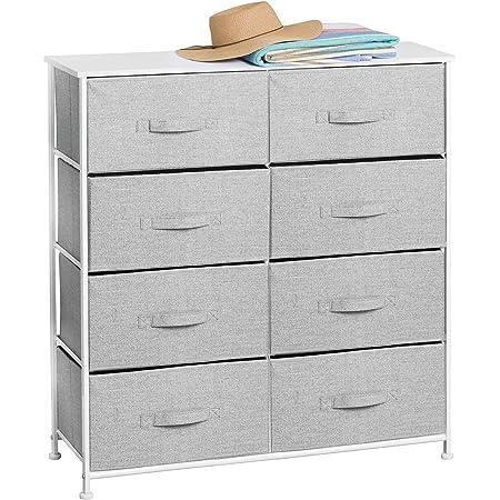 mDesign commode à 8 tiroirs – meuble à tiroirs en panneau de bois MDF pour la chambre à coucher, le salon ou le couloir – rangement vêtements en métal et tissu – gris