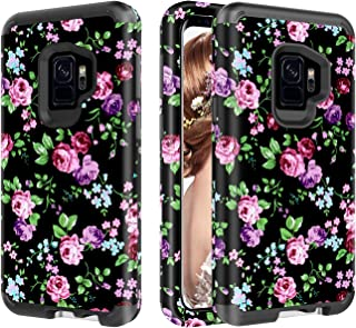 Galaxy S9 Case, UZER Flower Series Shockproof 3 in 1 Soft Interior Silicone Bumper&Hard Shell PC Back Cover Bumper Anti-Scratch Full-Body Protective Case for Samsung Galaxy S9 2018 Model