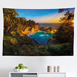 Ambesonne Big Sur Tapestry, Carmel California Exotic Scene with McWay Falls and Tropic Botany at Dusk, Fabric Wall Hanging...
