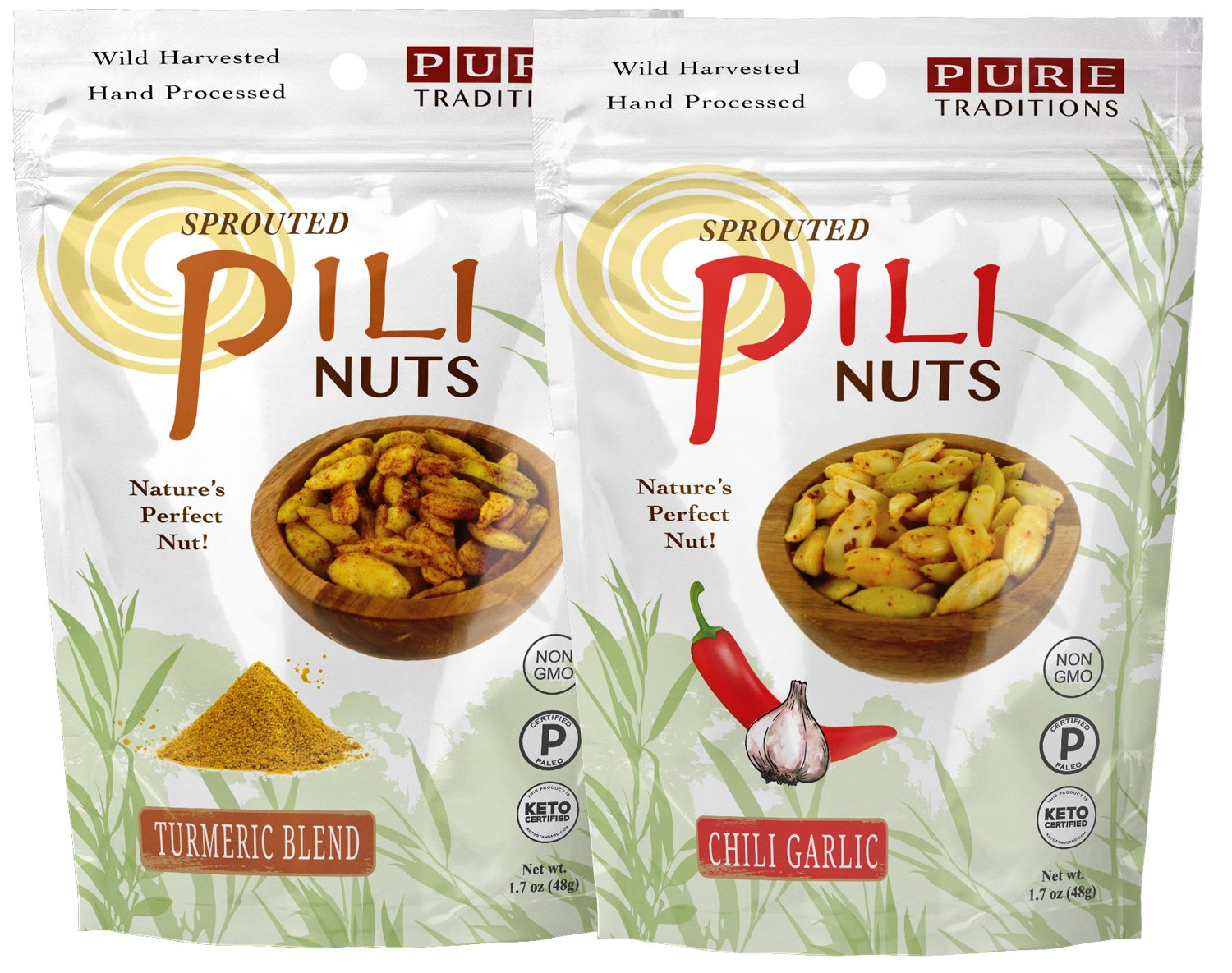 Oakland Mall Sprouted Pili Nuts Turmeric Blend Super popular specialty store Sampler o Garlic Chili 1.7