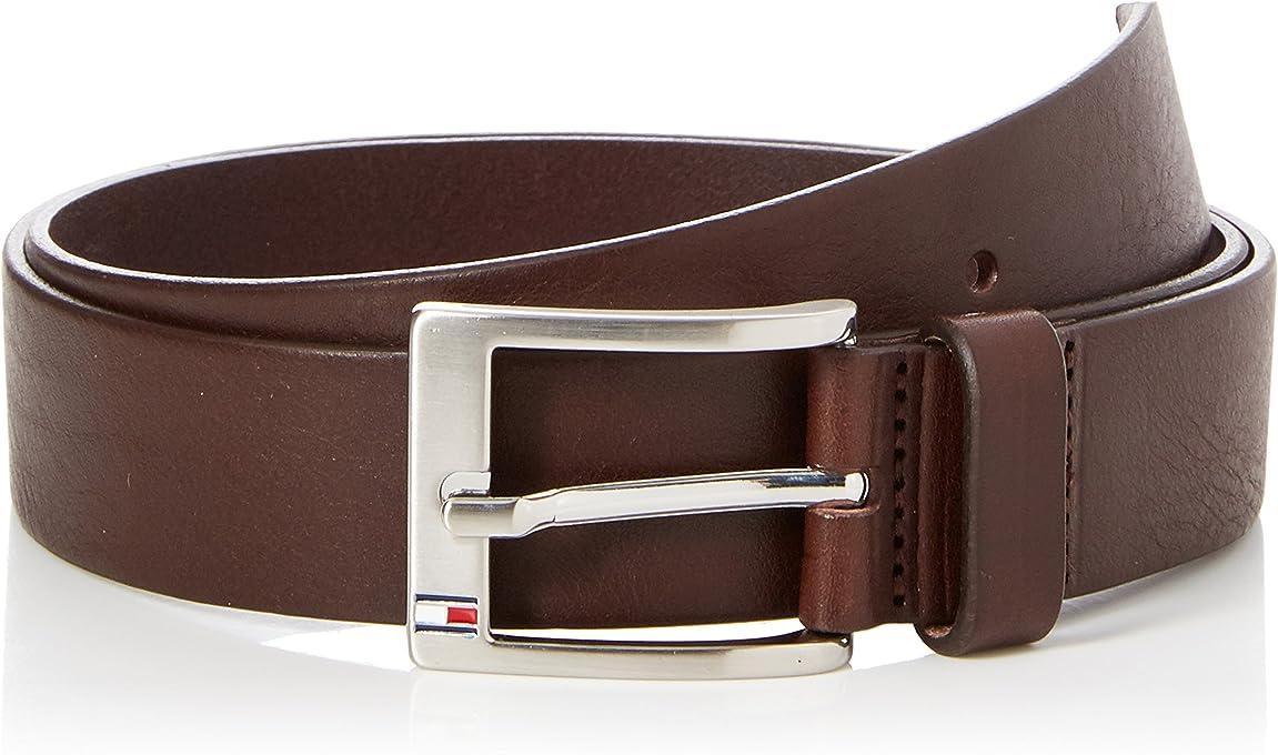 Tommy Hilfiger Men's Flag Buckle Leather Belt