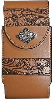 Western Cowboy Leather Smartphone Phone Holder Holster Basketweave/Flower Pattern Tooled … (Rhombic-Prayer-Khaki-L-Clip, L-3.5''x7'')
