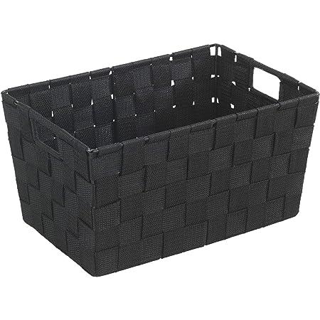WENKO Panier de salle de bains Adria S, noir - Panier de salle debain, Polypropylène, 30 x 15 x 20 cm, Noir
