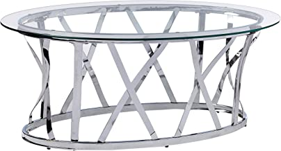 Simmons Upholstery & Casegoods Mtl&Glass CKTL TBL Chrome Oval Cocktail Table