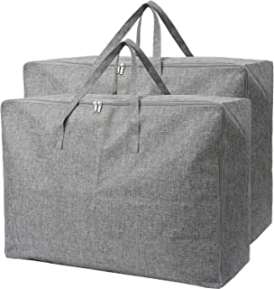 105L Extra Large Lead Free Organizer Storage Tote Bag-2 Pack-Sturdy, No Smell, Moisture Proof Linen Fabric, Carrying Bag, Camping Bag, Clothes Bag for Bedding, Comforters, Pillows, House Moving.(Grey)