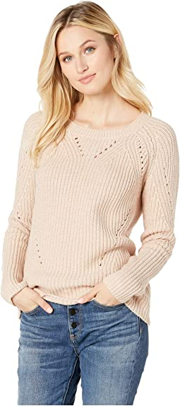 Crew Neck Pointelle Sweater