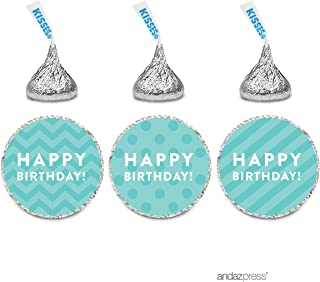 Andaz Press Chocolate Drop Labels Trio, Happy Birthday!, Polka Dots, Chevron, Striped, Diamond Blue, 216-Pack, Robin's Egg Blue Stickers for Birthday Hershey's Kisses Party Favor, Decor, Envelopes