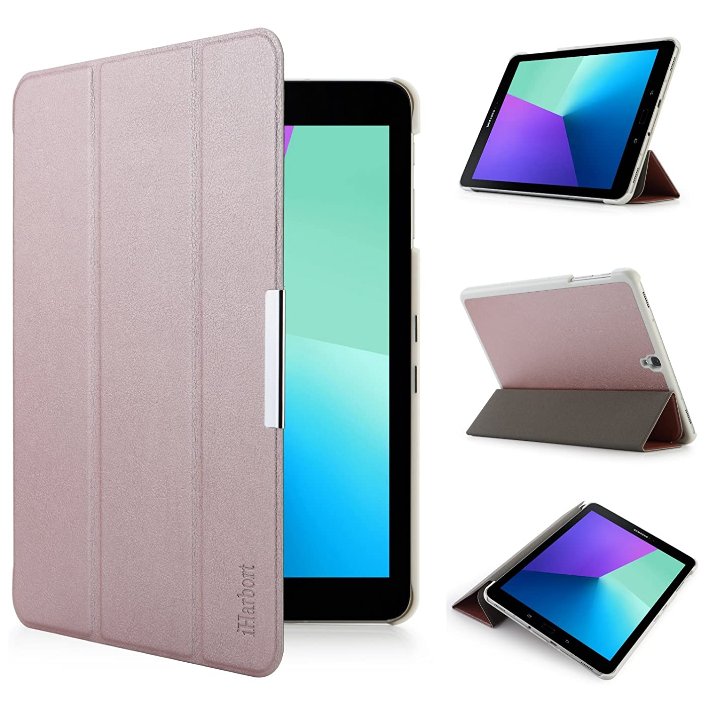 iHarbort Samsung Galaxy Tab S3 9.7 case (SM-T820 T825) - Ultra Slim Lightweight Smart-case Holder Stand Leather Case, with Smart Auto Wake/Sleep Function (Rose Gold)