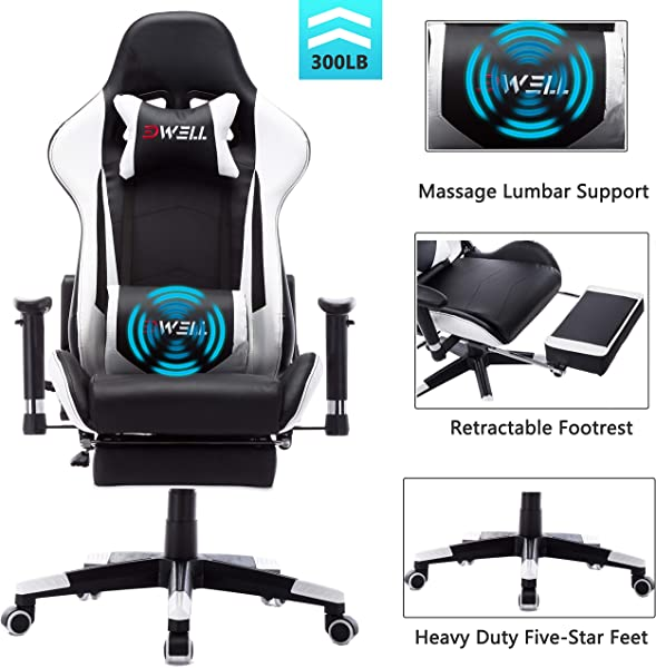 EDWELL Ergonomic Gaming Chair With Headrest And Lumbar Massage Support Racing Style PC Computer Chair Height Adjustable Swivel With Retractable Footrest Executive Office Chair White