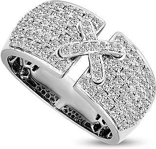 IGI Certified Natural Diamond Ring 14K White Gold 1 carat 100% Real Diamond Cross studded Ring For Women ( 1 CTTW, GH Colo...