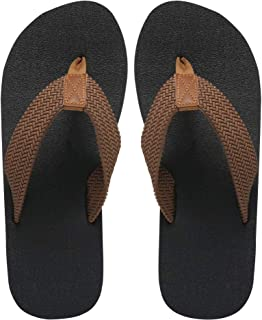 MAIITRIP Mens Flip Flops Size 13,Summer Beach Shoes,Non-Slip Rubber Shower Thong Sandals,Brown