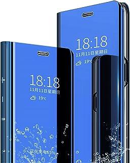 MLOTECH Funda para Huawei P Smart 2019,Funda Case + Cristal Templado Flip Clear View Translúcido Espejo Standing Cover Slim Fit Anti-Shock Anti-Rasguño Mirror 360°Protectora Cubierta Azul Cielo