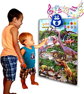 Just Smarty Dinosaur Interactive Learning Kit, 4 Toys & Poster with Music, Games and Educational Activities for Toddlers, Boys and Girls Ages 2,3,4,5,6 Includes Pack of 4 Realistic Dino Toy Figures