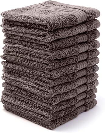 """Bumble Towels Bliss Luxury Combed Cotton 12 Pack Wash Cloth Set - 12"""" x 12"""" Extra Large Premium Quality Wash Cloths - 650 GSM - Soft,  Absorbent - Bonus Laundry Bag Included (Grey)"""