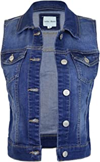 Design by Olivia Women's Sleeveless Button up Jean Denim Jacket Vest