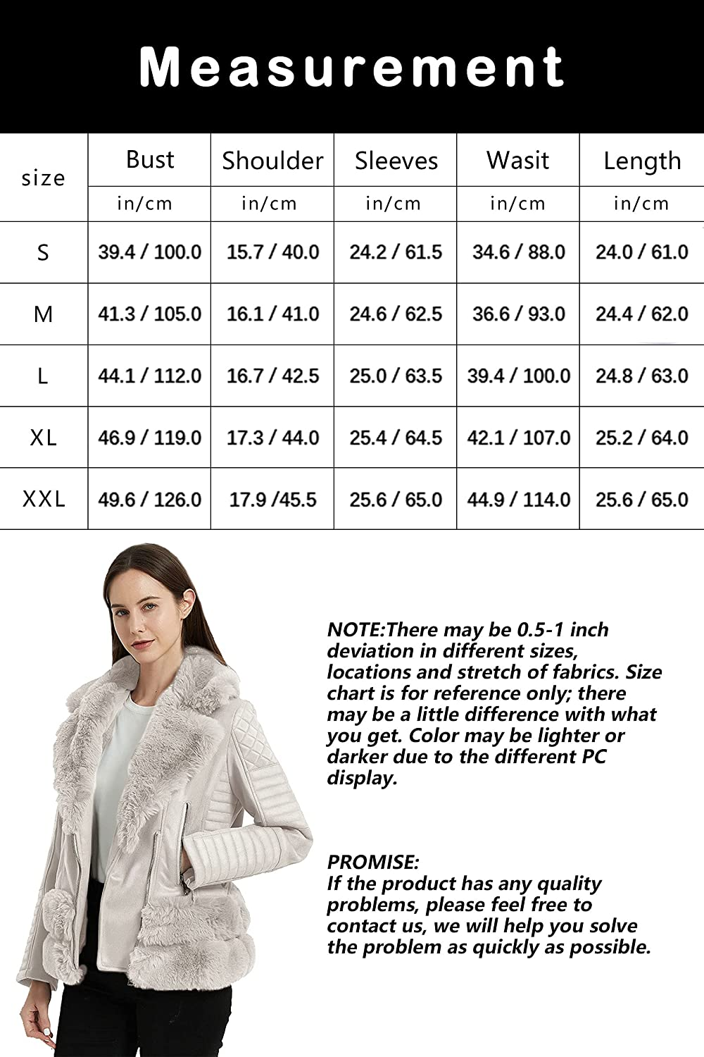 Bellivera Women's Faux Leather Jacket, Moto Coat with Faux Fur Collar for Winter