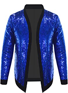 Pacinoble Men's Cardigan Shiny Sequins Autumn Long Sleeve Cover Up Jacket Blazer Jacket for Party,Wedding,Banquet,Prom,Nig...