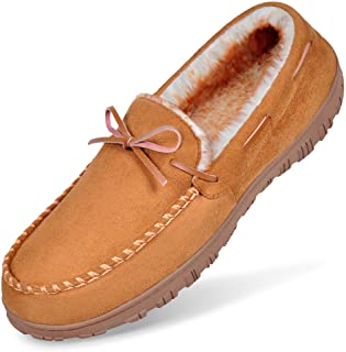 MIXIN Mens Moccasins Slippers for Men Classic Memory Foam House Shoes
