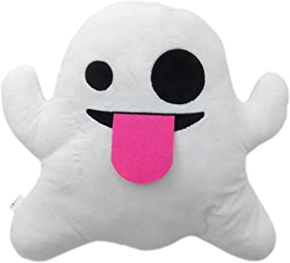 "PLUSH & PLUSH TM 12"" Inch / 30cm Large Emoji Pillows Smiley Emoticon Soft Plush Stuffed Yellow Roundy (USA SELLER) (Ghost)"