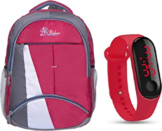 blubags Super 36 Liters Casual Backpack with raincover for Unisex RED and led Watch