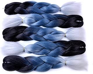 Jumbo Braiding Hair (Black/Grey Blue/Silver Grey) 5pcs Jumbo Braid Hair Extension 24