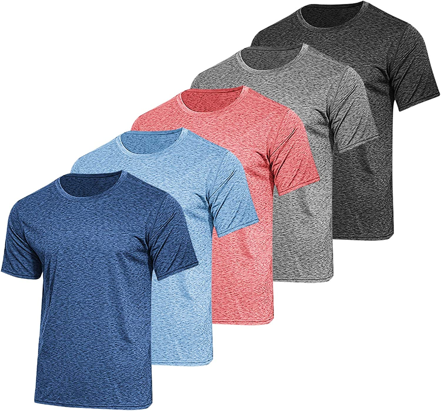 COOFANDY Men's 5 Pack Athletic T Shirts Short Sleeve Training Running Shirts Quick Dry Workout Gym Tee Tops