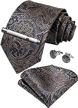 DiBanGu Paisley Tie and Pocket Square Men's Woven Necktie Silk Handkerchief and Cufflink Set