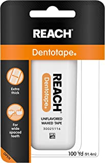Reach Dentotape Waxed Dental Floss with Extra Wide Cleaning Surface for Large Spaces between Teeth, Unflavored, 100 Yards ...