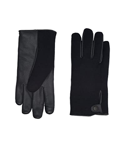 UGG Snap Tab Fabric Tech Gloves with Sherpa Lining (Navy) Extreme Cold Weather Gloves