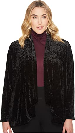 Vince Camuto Specialty Size - Plus Size Drape Collar Open Front Crushed Velvet Jacket