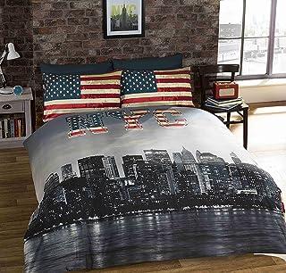 Urban GoCo Funda de Edredon Individual Reversible con Estampado de Nueva York y Bandera USA, con Funda de Almohada